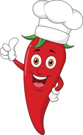 pulgar levantado: Chef chile de dibujos animados con el pulgar hacia arriba
