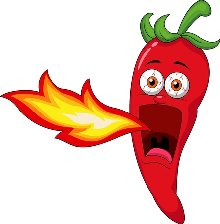 hot peppers: Chili Cartoon Character Breathing Fire  Illustration