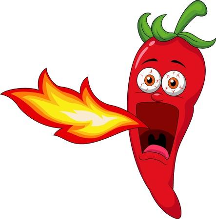 Personaje de dibujos animados Chili respiración del fuego