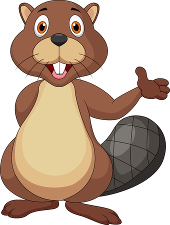 beaver tail: Bear cartoon waving hand Illustration