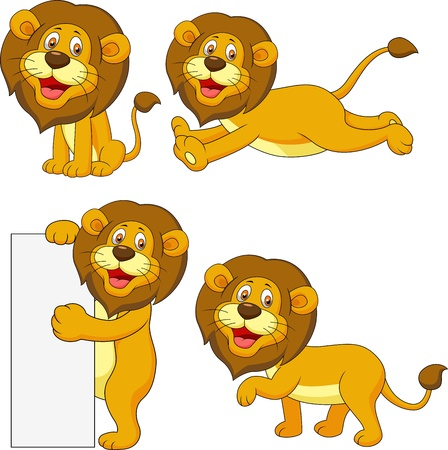 white lion: Cute lion cartoon set Illustration