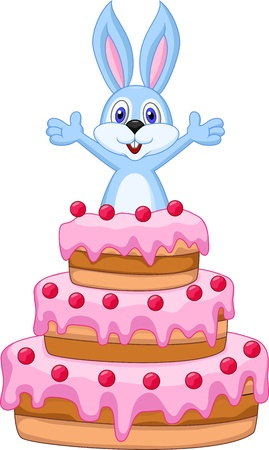 Rabbit inside the cake - birthday card  Vector