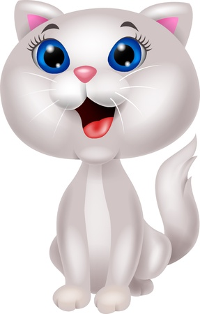 a lovely cat: White cat cartoon Illustration