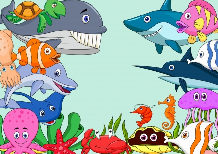 Sea life cartoon background Vector