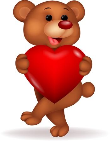 Bear cartoon with red love Stock Vector - 18626582