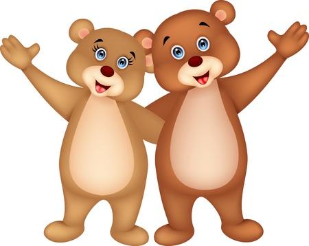 oso caricatura: Tenga a mano que agita pareja Vectores