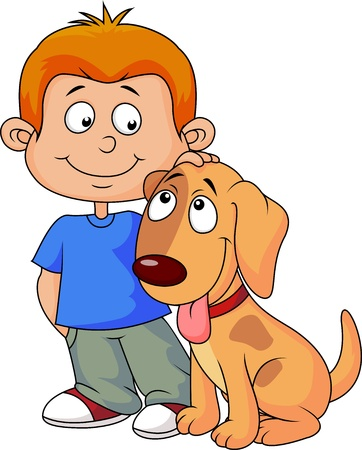 child and dog: Boy and dog
