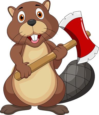 castor: Beaver historieta holding hacha Vectores