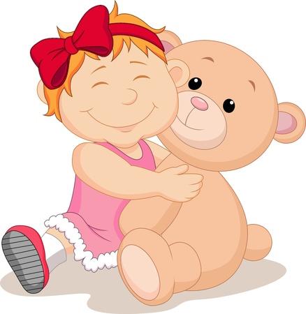 amigos abrazandose: Muchacha con el oso de peluche