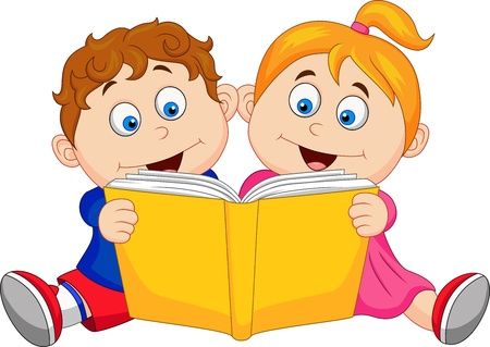 cartoon reading: Children reading a book Illustration