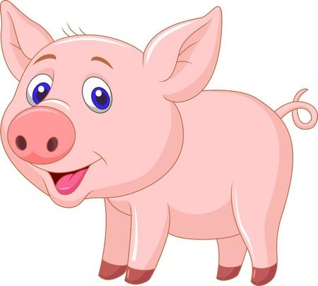 cerdo caricatura: Bebé lindo de la historieta del cerdo