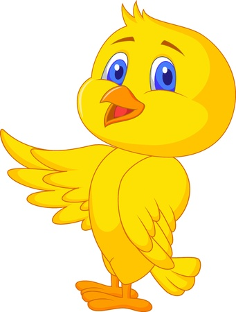 Cute bird cartoon waving