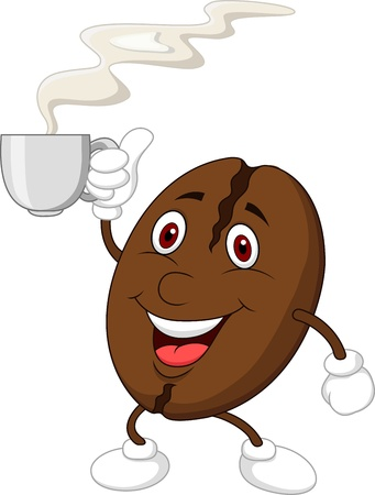Coffee bean cartoon character with coffee cup
