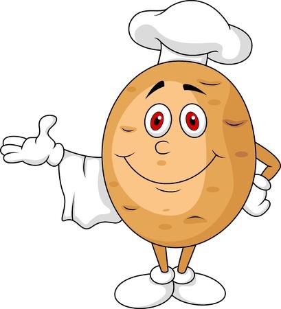 potato plant: Cute potato chef cartoon character Illustration