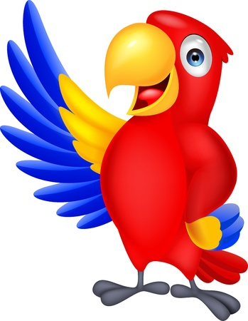 bird icon: Macaw bid carton waving