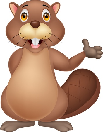 beaver tail: Cute beaver cartoon waving hand