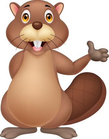 hand stand: Cute beaver cartoon waving hand