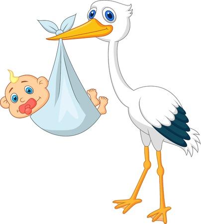 cigueña: Stork carryying bebé Vectores