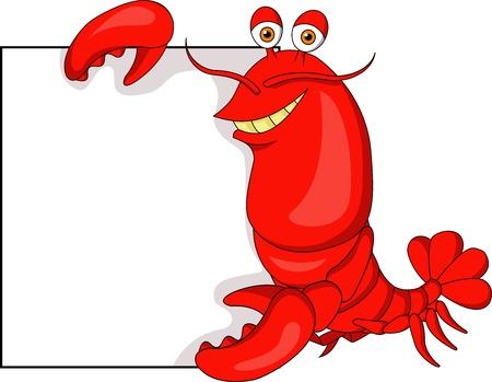 Dessin animé Lobster with blank sign