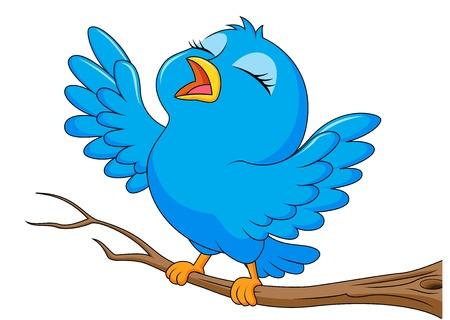 Blauwe vogel cartoon zingen