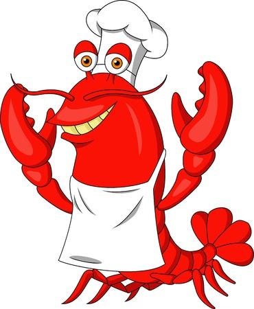 raw lobster: Langosta linda caricatura