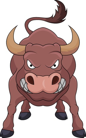 enraged: Angry bull cartoon