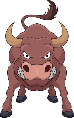 toros bravos: Dibujos animados toro enojado