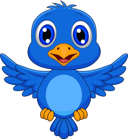 cartoon birds: Cute blue bird cartoon