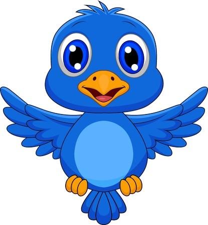 sevimli: Sevimli mavi kuş karikatür