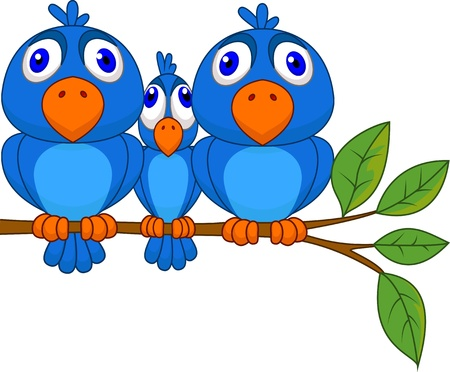 robin bird: Funny blue bird Illustration
