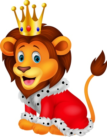 animal fauna: Cartoon lion in king outfit
