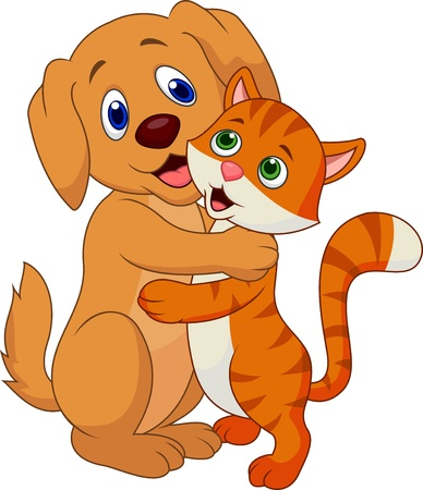 puppy and kitten: Cute dog and cat embracing each other Illustration