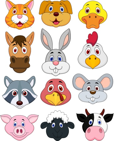 farm animal cartoon: Animal head cartoon set
