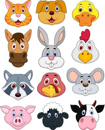 Animal hoofd cartoon set
