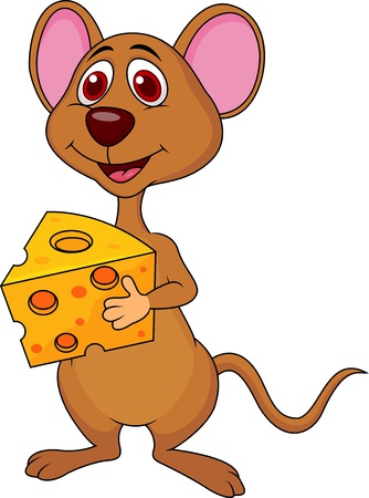 Cute mouse holding cheese Vector