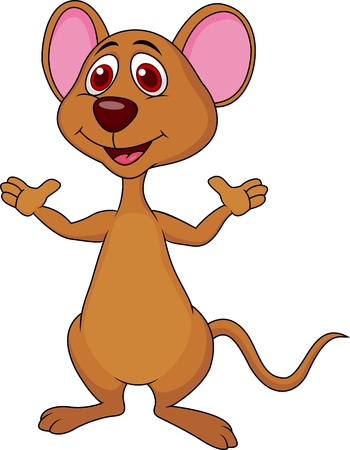 Cute mouse cartoon waving Stock Vector - 19024617