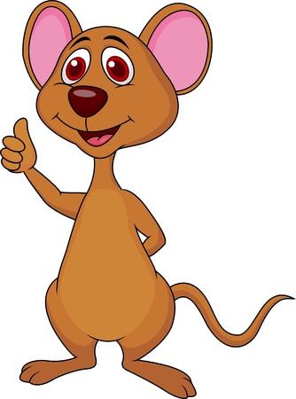 raton caricatura: Lindo ratón de dibujos animados pulgar Vectores