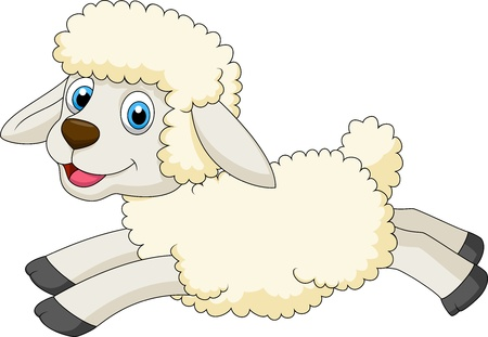 ewe: Cute sheep jumping Illustration