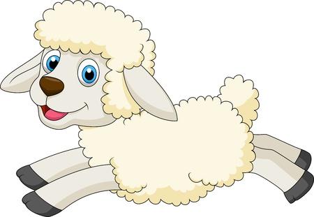 ovejita bebe: Lindo ovejas salto Vectores