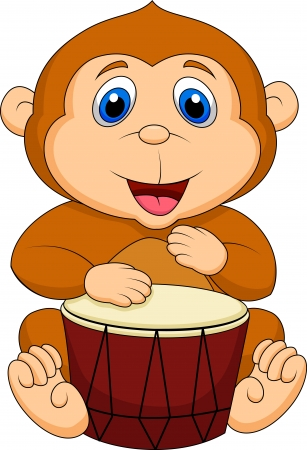 Cute monkey playing drum Vector