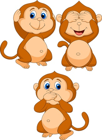 Three wise monkeys Stock Vector - 19024624