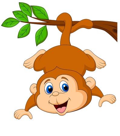 嬰兒: 可愛的卡通猴子掛在樹枝上