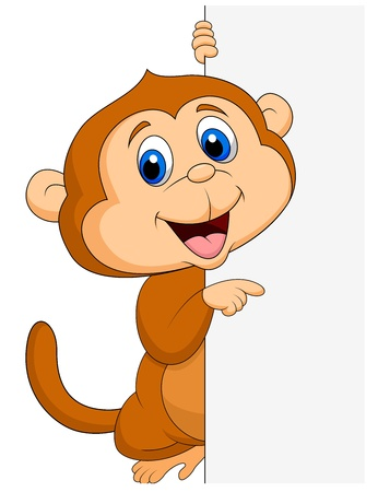 dumb: Cute monkey cartoon with blank sign