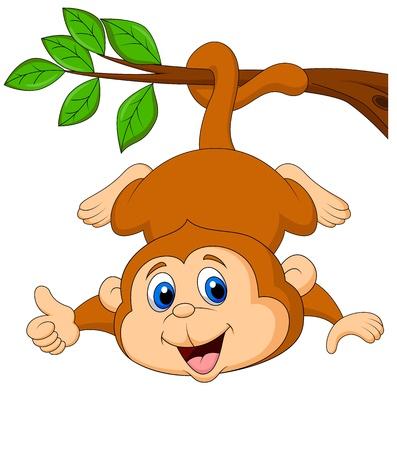Cute dibujos animados mono colgando de una rama de un árbol con el pulgar arriba