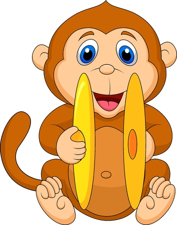 Cute monkey cartoon playing cymbal Stock Vector - 19119540