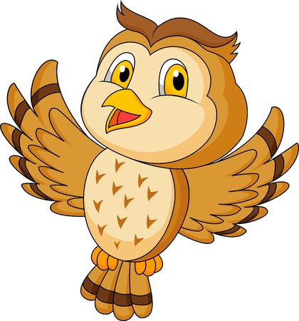 Cute owl cartoon flying Vektorové ilustrace