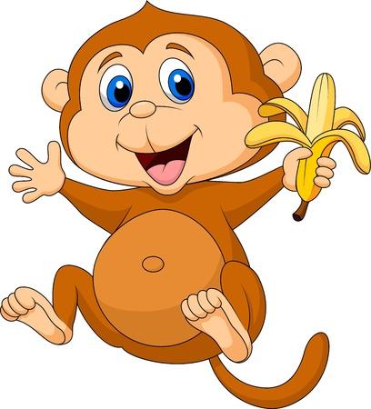 scratching: Cute monkey cartoon eating banana