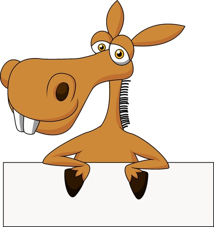 mule: Cute donkey cartoon with blank sign Illustration