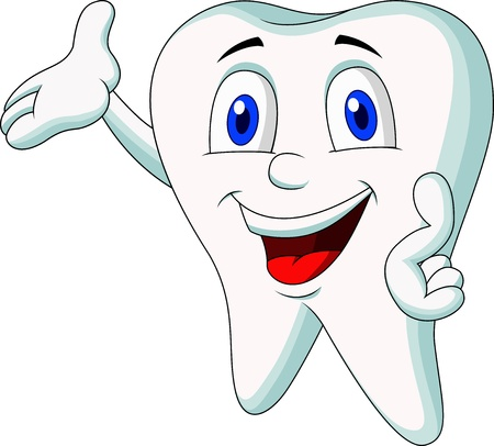floss: Cute tooth cartoon presenting