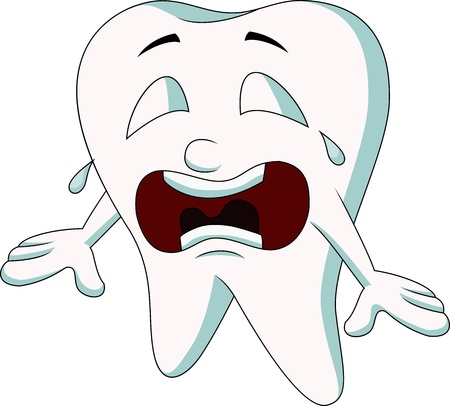Cute tooth cartoon crying Stock Vector - 19119611